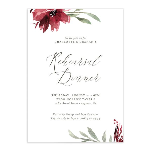 Muted floral rehearsal dinner invitations in burgundy