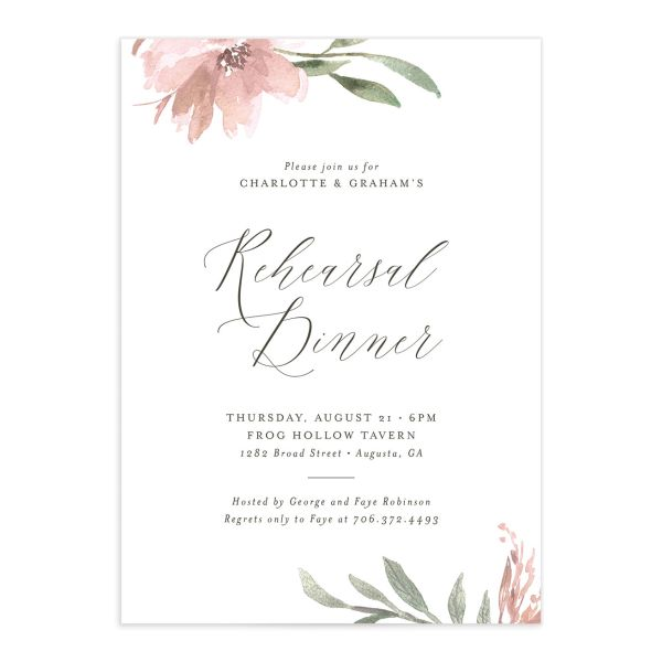 Muted floral rehearsal dinner invitations in blush pink