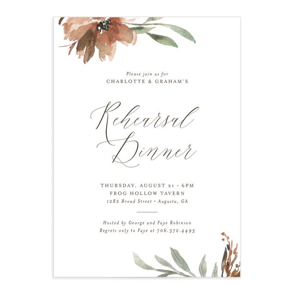 Muted floral rehearsal dinner invitations in copper