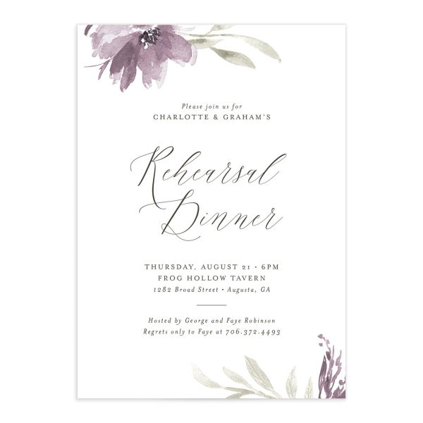 Muted floral rehearsal dinner invitations in purple