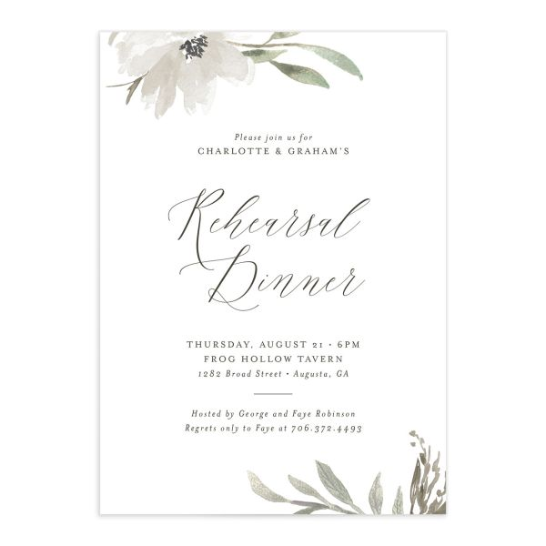 Muted floral rehearsal dinner invitations in white