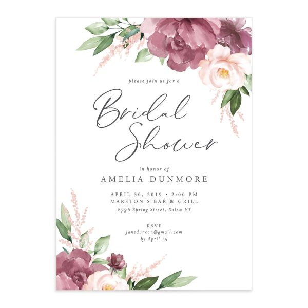 Beloved floral bridal shower invitations in purple