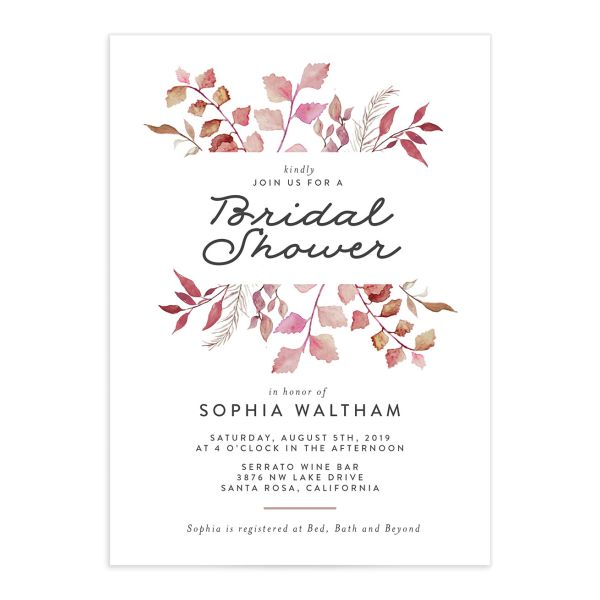 leafy ampersand bridal shower invite in purple