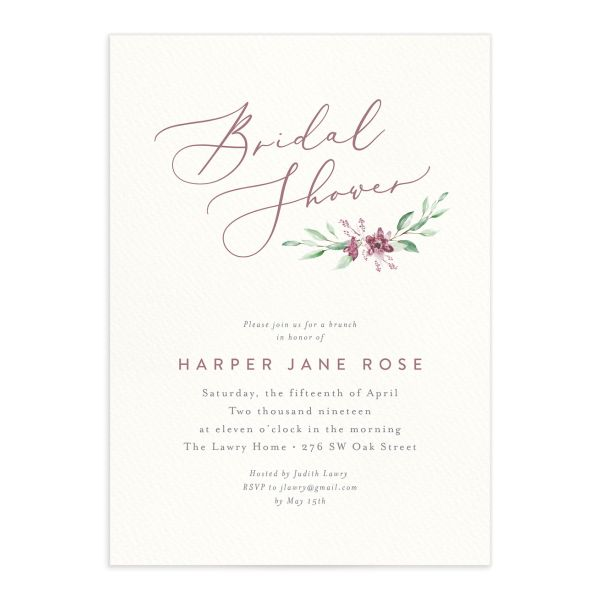 watercolor crest bridal shower wedding invitations in pink