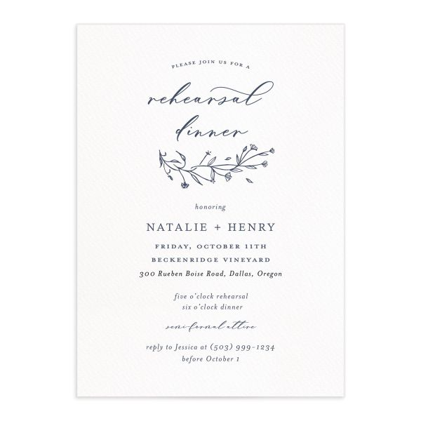 Natural Monogram rehearsal dinner invites in blue