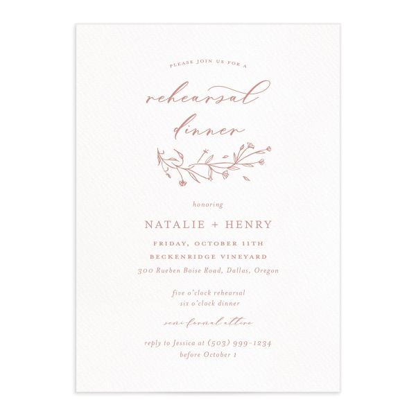 Natural Monogram rehearsal dinner invites in pink