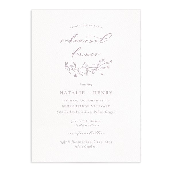 Natural Monogram rehearsal dinner invites in purple