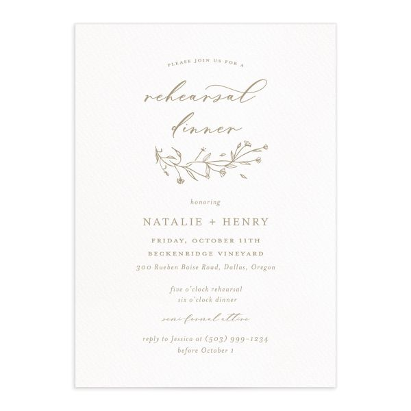 Natural Monogram rehearsal dinner invites in tan