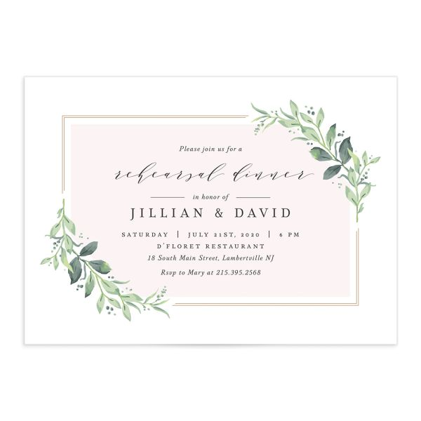classic greenery rehearsal dinner invitations in pink