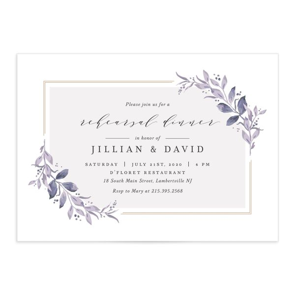 classic greenery rehearsal dinner invitations in purple