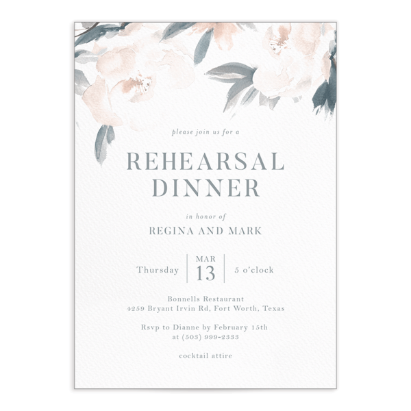 Elegant Garden rehearsal dinner invite in blue