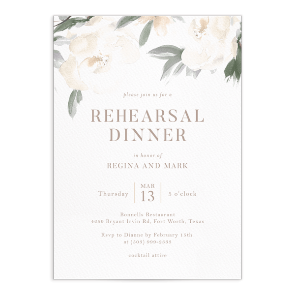 Elegant Garden rehearsal dinner invite in green