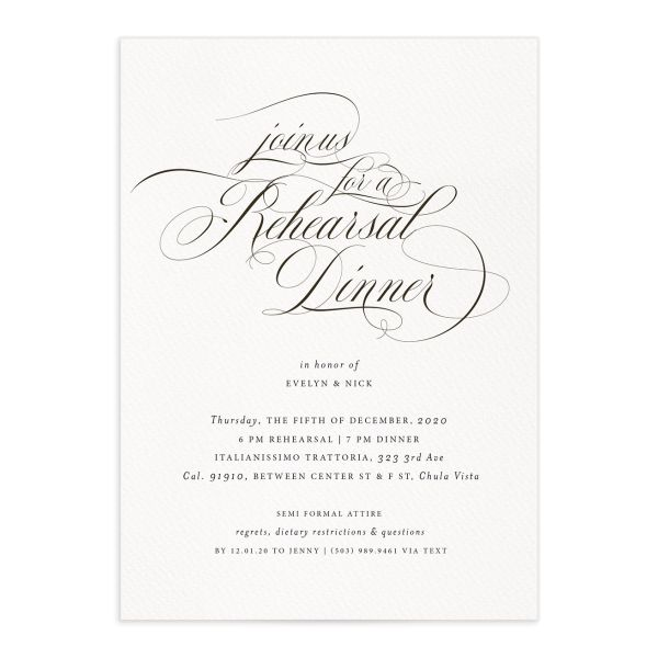 exquisite calligraphy elegant rehearsal dinner invitations