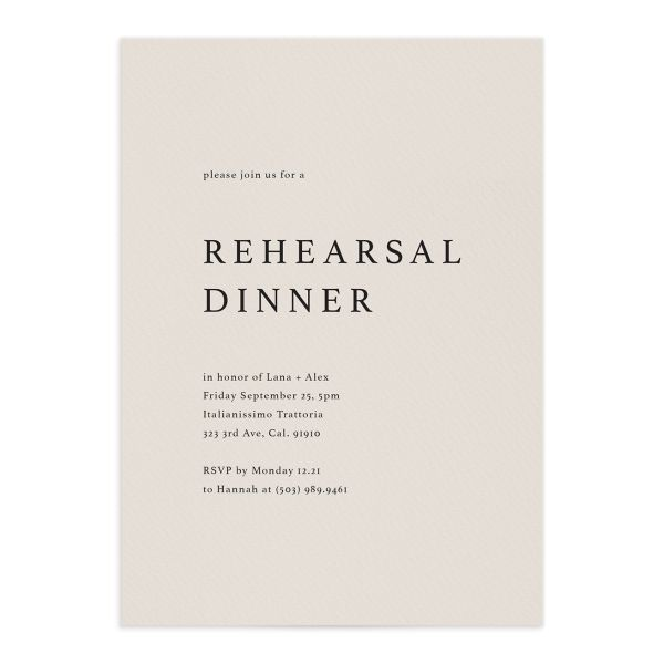 Natural Palette Rehearsal Dinner Invitation in Blue front