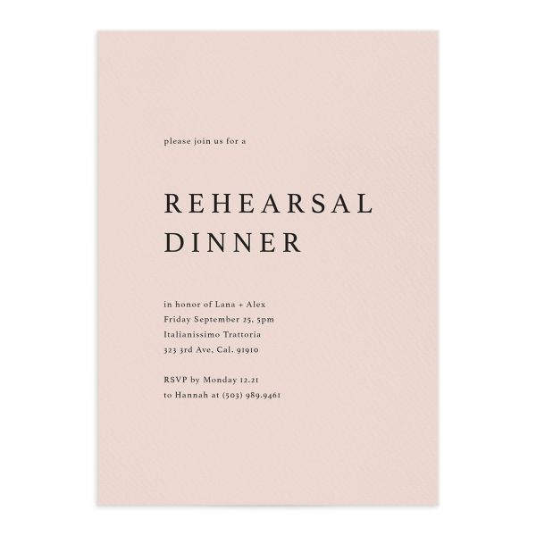 Natural Palette Rehearsal Dinner Invitation in Pink front