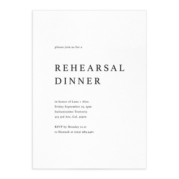 Natural Palette Rehearsal Dinner Invitation in White front