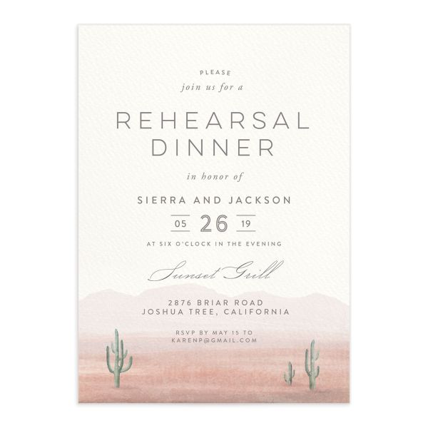 painted desert rehearsal dinner invitations in pink