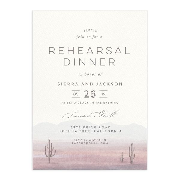 painted desert rehearsal dinner invitations in purple