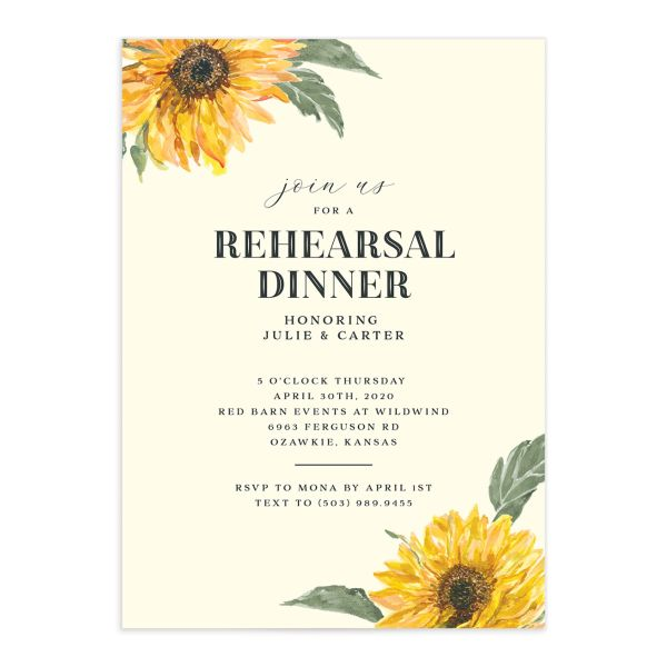 sunflower rehearsal dinner invites