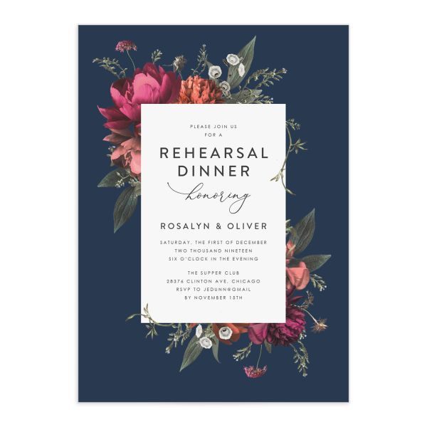 Blooming Botanical Rehearsal Dinner Invitations