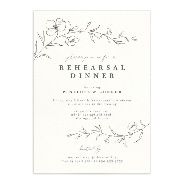 graceful botanical rehearsal dinner invitations in grey