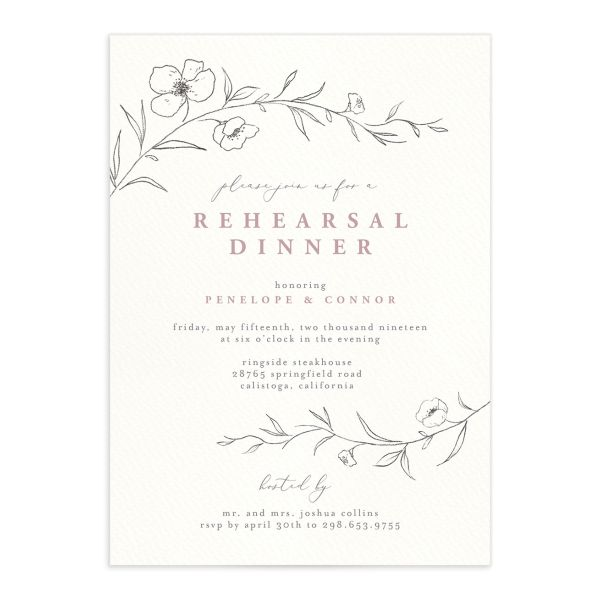 graceful botanical rehearsal dinner invitations in pink