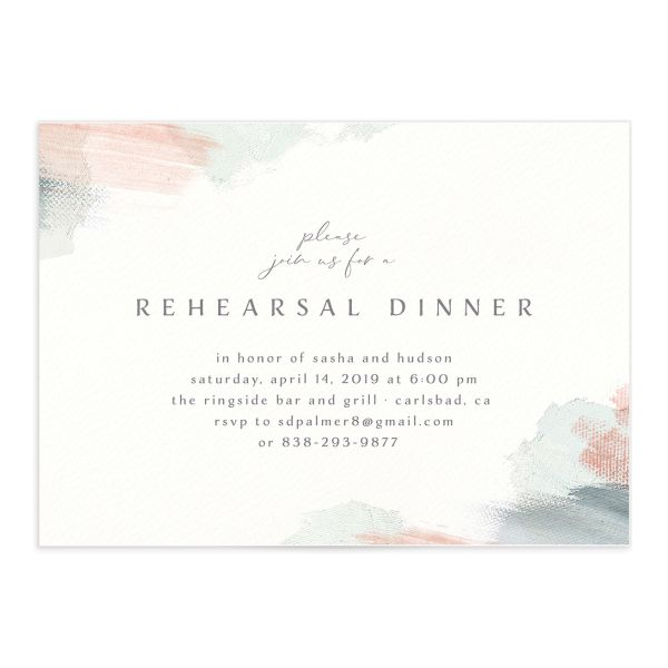 Minimal Brush rehearsal dinner invitation green