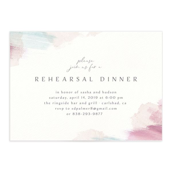 Minimal Brush rehearsal dinner invitation pink