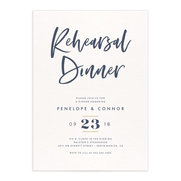 modern luxe rehearsal dinner party invitations in blue