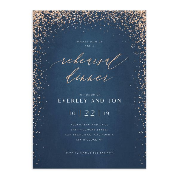 Sparkling Romance rehearsal dinner invitation blue front