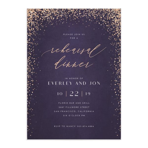 Sparkling Romance rehearsal dinner invitation purple front