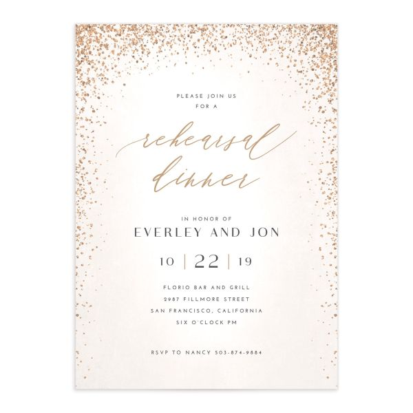 Sparkling Romance rehearsal dinner invitation cream front