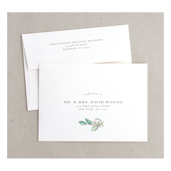Lush Green save the date envelopes
