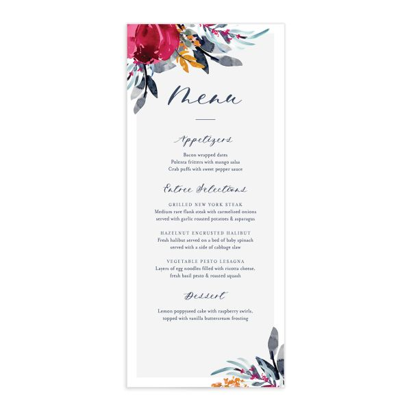 Painted Bouquet Menus