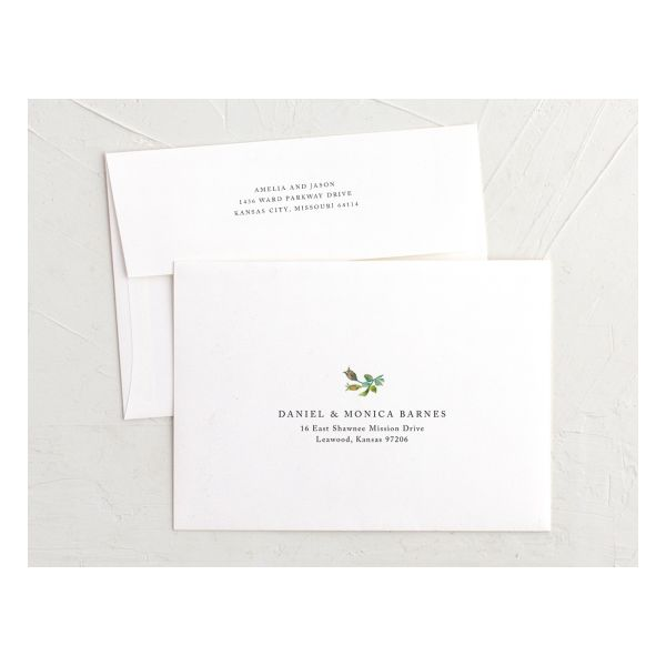 Minimal Floral recipient address & return address printing