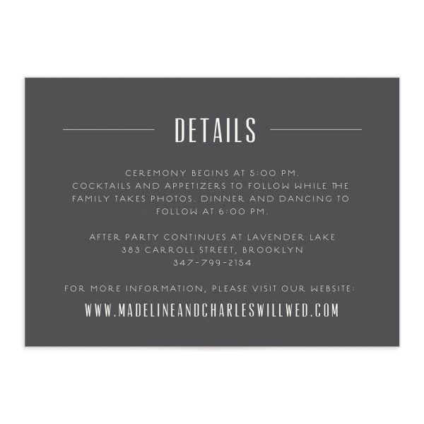 elegant industrial wedding enclosure cards