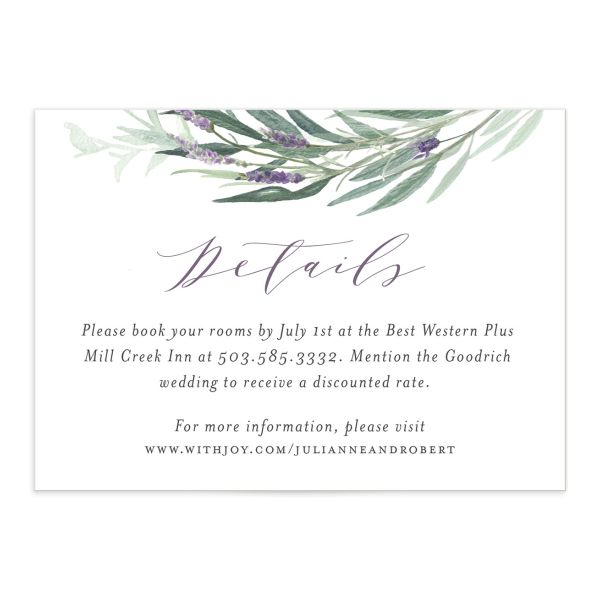 Lavender sage wedding enclosure cards