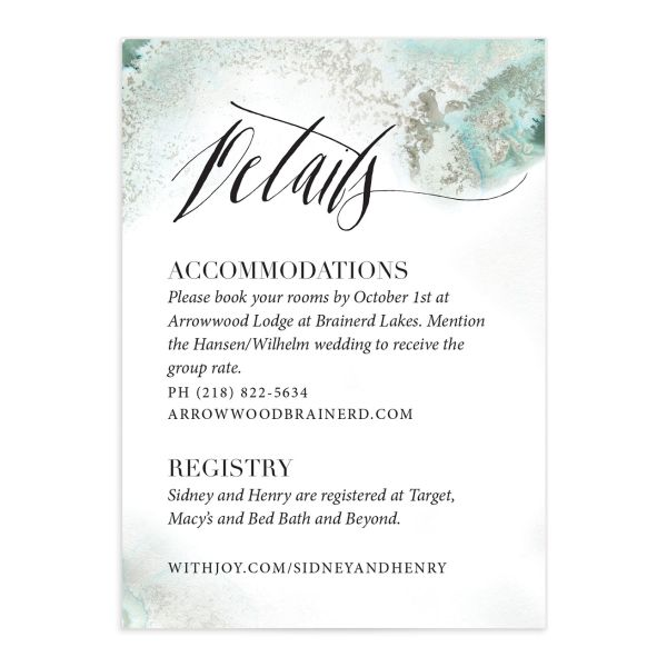 painted greenery wedding enclosure cards in green