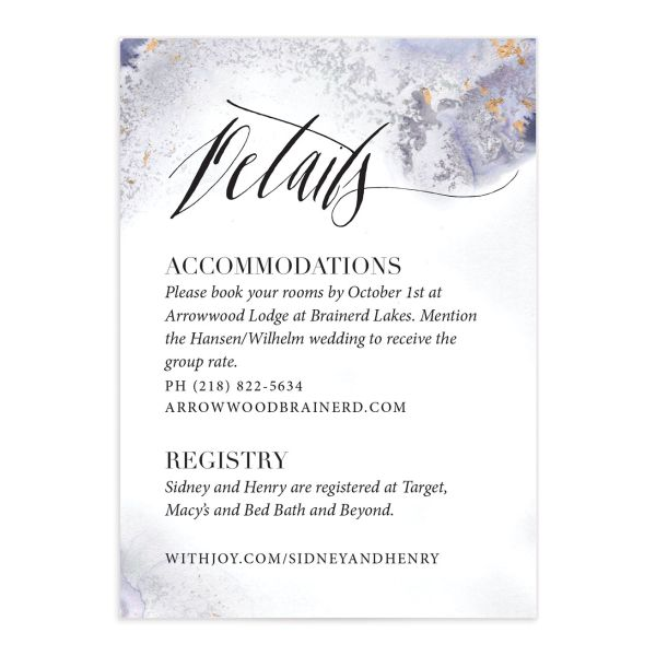 painted greenery wedding enclosure cards in purple