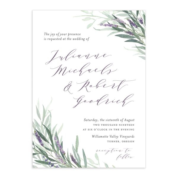 Lavender sage wedding invitations