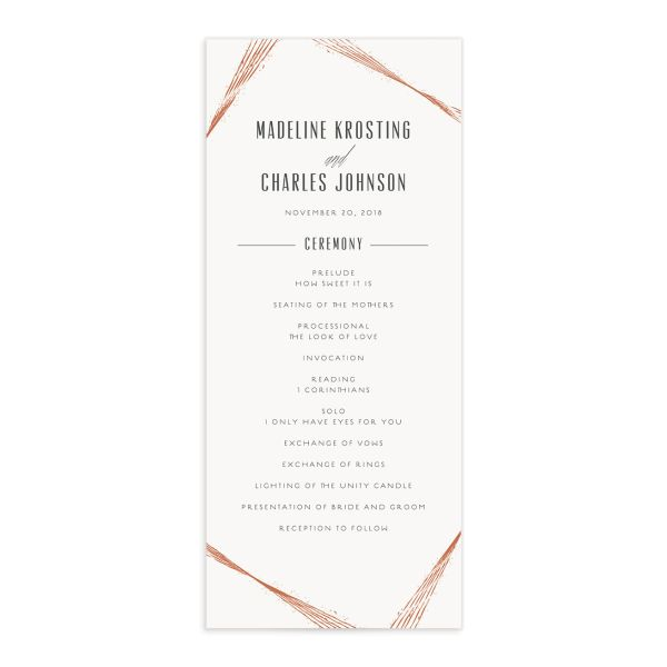 elegant industrial wedding programs