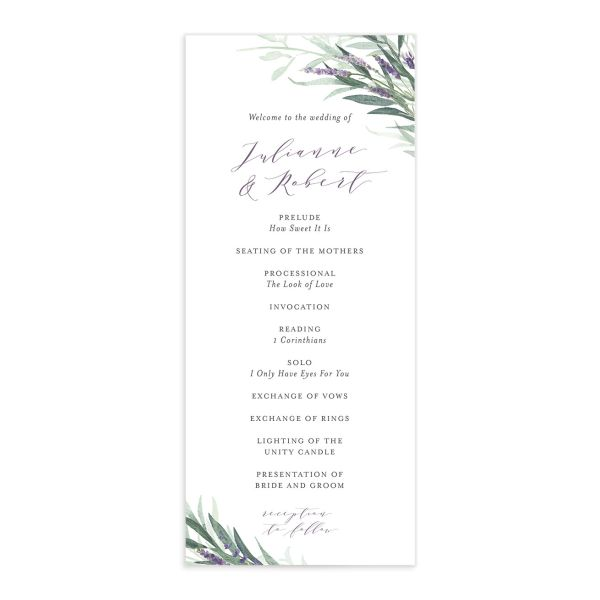 lavender sage wedding programs