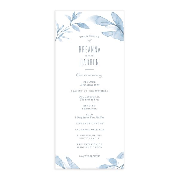 painted leaves wedding programs
