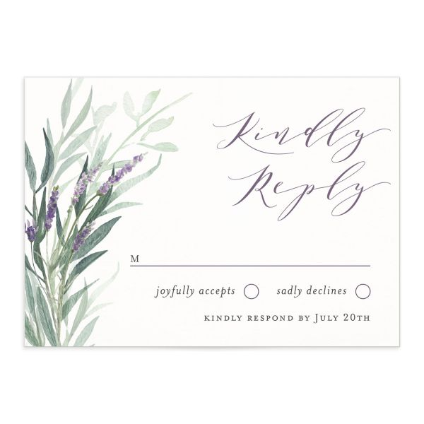 lavender sage wedding RSVP cards