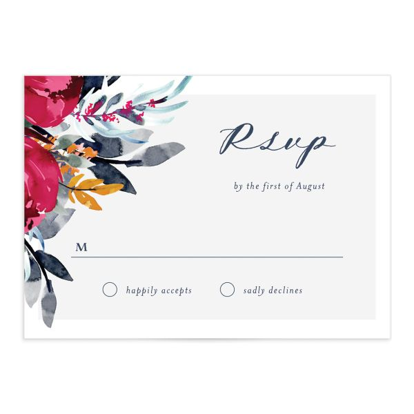 Painted Bouquet Wedding RSVP cards