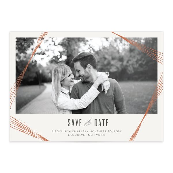 elegant industrial photo save the date cards