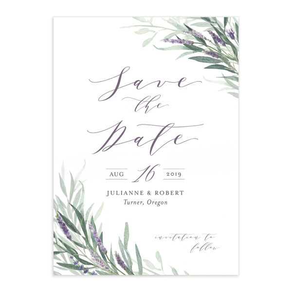 lavender sage wedding save the date cards