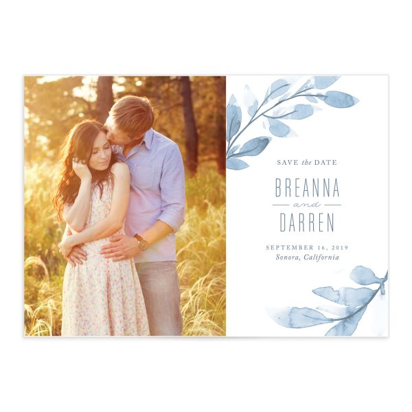 painted leaves photo save the dates