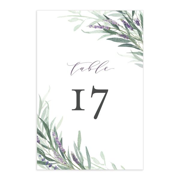 lavender sage table numbers