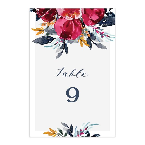 Painted Bouquet Table Numbers